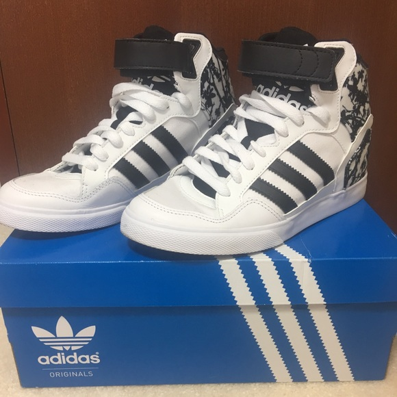 9e7b3390089f adidas Shoes - Adidas Extaball Up Black White Floral Sneakers